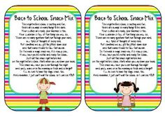 Back to School Snack Mix...Perfect for our early open house this year