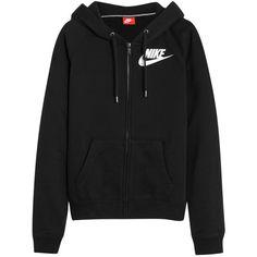 Nike Rally FZ cotton-blend jersey hooded sweatshirt (5.340 RUB) ❤ liked on Polyvore featuring tops, hoodies, nike, jackets, black, raglan top, zipper hoodies, zip hoodie, nike hoodie and sweatshirt hoodies