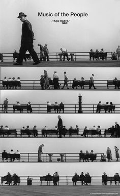 Very creative image by Dios de Jacob. Açık Sheet Music Montage :: Coney Island 1950 (by Harold Feinstein)