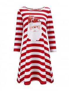 Women Plus Size Christmas Print Stripe Casual Tee Dress Elk Print O Neck Long Sleeve Fit Flare Dress Vestidos 005 XL Types Of Dresses, Plus Size Dresses, Ärmelloser Pullover, Santa Dress, Tee Dress, Fit Flare Dress, Casual Dresses, Fashion Dresses, Formal Dresses
