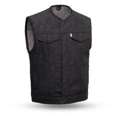 First Manufacturing Murdock Vest Men's Leather Jacket, Biker Leather, Leather Men, Jacket Men, Black Denim Vest, Raw Denim, Men's Denim, Motorcycle Vest, Biker Gear