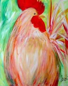 Funky Chicken Art | Funky Chicken II Rooster Painting, Chicken Art, Wild Birds, Lincoln Avenue, Paintings, Crafty, Ducks, Art Work, Barn