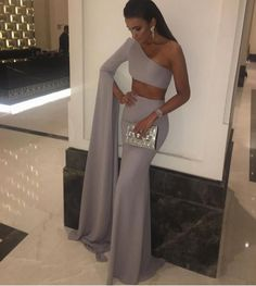 Gray Lavender One-Sleeve Maxi Dress - How can you resist this look? Apply code DREAM10 for 10% off + Free International Shipping on all orders! #love #shop #dresses