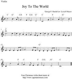 sheet music violin | Joy To The World, free Christmas violin sheet music notes