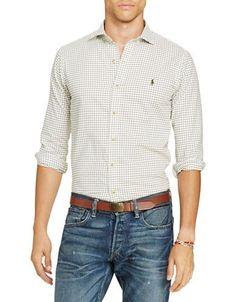Polo Ralph Lauren Slim-Fit Checkered Twill Shirt Men's Cream XX-Large