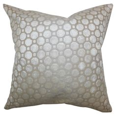 Showcasing a geometric motif, this chic pearl-hued velvet pillow brings eye-catching style to your living room or den. Made in the USA.