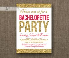 Hot Pink Black Modern Bachelorette Party Invitation With Gold