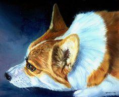 "Oil painting painted by Lyn Hamer Cook ""Sunlight"" Corgi"