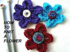 HOW TO KNIT A FLOWER, diy, knitted flower for brooches, hats, purses, etc. - YouTube
