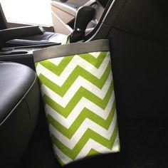 Car Trash Bag CHEVRON LIME GREEN, Women, Men, Car Litter Bag, Auto Accessories, Car Caddy, Auto Bag, Car Organizer