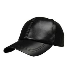 b314035be3753 New Men Leather Warm Baseball Cap Adjustable Winter Black Trucker Snapback Hats  Leather Baseball Cap