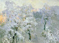 Konstantin Gorbatov (Russian, 1876-1945)  Trees in Wintry Silver