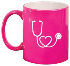 Stethoscope in Shape of Heart Nurse Doctor Ceramic Coffee Tea Mug Cup Hot Pink