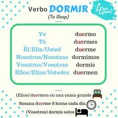 Conjugación verbos irregulares Learn Español. Verbo dormir  #ToSleep #Dormir #VerbosIrregulares Learn Espanol, Spanish 1, Learning Spanish, Boarding Pass, Language, Sleep, Travel, Irregular Verbs, To Sleep