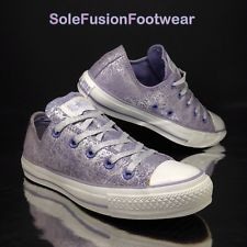 Converse All Star Leather Trainers Purple/Silver sz 3.5 Womens EU 36 Junior US 4
