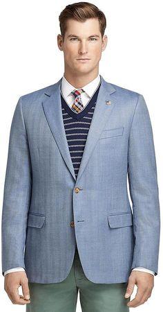 Fitzgerald Fit Saxxon® Blue Herringbone Sport Coat