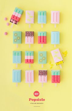 [On lit] Diy popsicle favor boxes - Oh happy day Diy Party, Party Favors, Shower Favors, Party Hats, Shower Invitations, Party Ideas, Popsicle Party, Idee Diy, Ice Cream Party