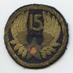 Bullion Italian-Made WWII USAAF 15th Air Force Shoulder Patch