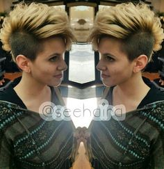 Two tone blonde dyed Mohawk hair style @seehaira