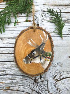Christmas Reindeer: Large Rustic Tree Ornament by AliceCEades