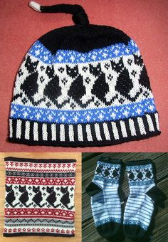 Free knitting pattern for Black Cat Beanie and more cat knitting patterns