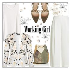 """""""Working girls wear white"""" by styledbytrell ❤ liked on Polyvore featuring Diane Von Furstenberg, Gap, Roberto Vianni and Jérôme Dreyfuss"""