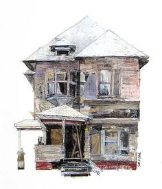 drawings by seth clark mixed media abandoned houses House Sketch, House Drawing, House Illustration, Architectural Features, Architectural Drawings, Building Art, A Level Art, Environmental Art, Animation