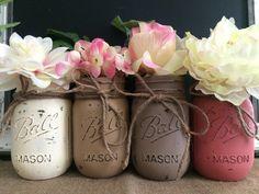 Painted Mason Jars, Set of 4, Pint Jars, Ball Mason Jars, Flower Vases, Rustic Wedding Centerpieces, Shabby Chic, Neutrals, Farmhouse Style