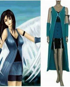 Final Fantasy VIII Rinoa Heartilly Cosplay Costume Blue Green Dress Full Sets