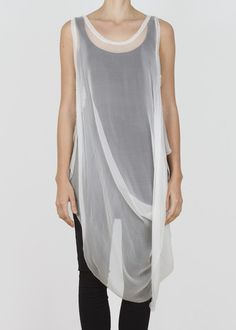 679278ad5a1c4 ghost tank - natural Sheer White Blouse