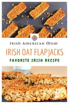 Irish Oat Flapjacks are easy to make bars made with rolled oats butter brown sugar and golden syrup. Armenian Recipes, Irish Recipes, Armenian Food, Muesli Bars, Oat Bars, What Recipe, Today's Recipe, Fun Baking Recipes, Cooking Recipes