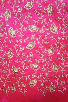Faux dupion silk fabric with all over embroidery Floral Embroidery Patterns, Embroidery Suits Design, Hand Embroidery Designs, Embroidery Dress, Ribbon Embroidery, Raw Silk Fabric, Sequin Fabric, Dupion Silk, Bridal Blouse Designs