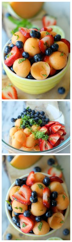 Berry Cantaloupe Salad - A super easy and amazingly refreshing fruit salad - the perfect way to cool down! #glutenfree