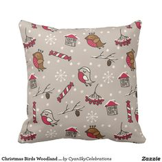 Christmas Birds Woodland 'Home For The Holidays' Pillow @zazzle