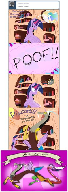 Best Princess by grievousfan on deviantART.  Discord rules, Celestia drools!