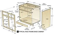 The standard kitchen cabinet dimensions vary among manufacturers which it makes you deal with the size of your space. Building Kitchen Cabinets, Kitchen Base Cabinets, Built In Cabinets, Diy Cabinets, How To Build Cabinets, Bathroom Cabinets, Bathroom Fixtures, Cupboards, Woodworking Projects Diy