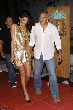 Amal and George Clooney as they launch new tequila with Cindy Crawford and Rande Gerber in Ibiza. Sunday 23 Aug 2015