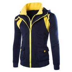 Hooded Faux Twinset Pockets Design Double Zip-Up Jacket Cargo Jacket, Shirt Jacket, Fleece Hoodie, Hooded Sweatshirts, Cheap Winter Jackets, Cheap Hoodies, Blazers For Men, Jackets Online, Zip Ups