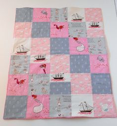 Minky Blanket Patchwork Quilt Sarah Jane for Michael Miller Out to Sea Pink Gray Mermaid Pirate Girl--Ready to Ship. $45.00, via Etsy.