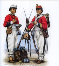 Bolivia; 1st Line Infantry(Granaderos de la Guardia), 1st Battalion 'Daza', Soldier & Sergeant, c.1880