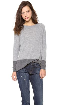 Vince Colorblock Luxe Cashmere Sweater, 'cause yeah...I need another grey cashmere sweater....not...but....