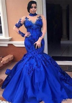 New Elegant Royal Blue Plus Size Prom Dresses High Neck Long Sleeves Beads Lace Appliques Sheer Evening Gowns Mermaid Formal Dresses Mermaid Prom Dresses Lace, Prom Dresses Uk, Prom Dresses Long With Sleeves, Plus Size Prom Dresses, Lace Mermaid, Formal Dresses, Mermaid Style, Special Dresses, Girls Dresses