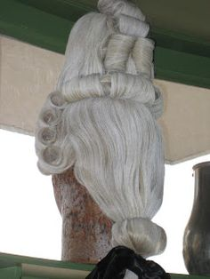 18th Century Men's Wig on display at Colonial Williamsburg. My guess? This would…
