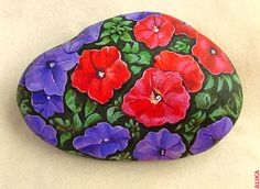 Hand painted rock. Petunias 4 | by Alika-Rikki