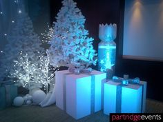 White Trees and Gift box props for a Narnia themed Christmas Grotto, by Partridge events #MyInterfloraChristmas
