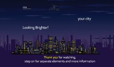 Template with night city view in 3D background.  Ideal for pitching great ideas to investor.  Includes various business characters for illustrating your story.