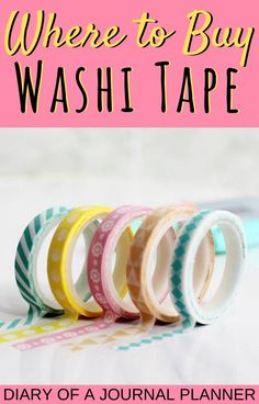 Read here for the ultimate list of the best etsy shops to buy your washi tape! #washitape #washitapeshops #stationery #etsyshops #etsy Washi Tape Storage, Washi Tape Wall, Washi Tape Crafts, Bullet Journal Washi Tape, Bullet Journal Printables, Bullet Journal Spread, Washi Tape Planner, Journal Design, Storage Ideas
