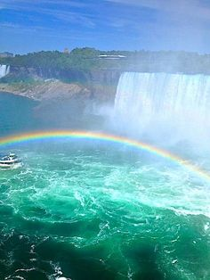 """""""beautiful rainbow over Niagra Falls when we went to see this magnificent wonder while in Toronto!"""" with Charles Shaughnessy at Niagra Falls, Ontario."""