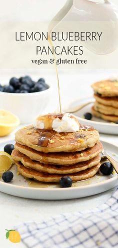 The best lemon blueberry pancakes that are light, fluffy, and both vegan and gluten free! #vegan #pancakes #blueberrypancakes #glutenfreepancakes #breakfast