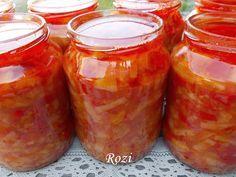Rozi erdélyi,székely konyhája: Lecsó konyhakészen,télire Canning Pickles, Hungarian Recipes, Preserves, Pesto, Food And Drink, Meals, Dishes, Baking, Advent